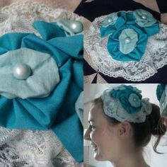 Week 22 of 52: Hold All The Laces // Lace topped with three blue fabric flowers and pearlescent centres. $50 + shipping.