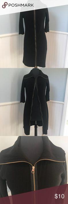 Ellen Tracy Full Zip Black Sweater Dress Sz M Zip up sweater dress  Completely unzips so it could double as a duster/cardigan Gold zipper 3/4 sleeves 100% acrylic Ellen Tracy Dresses Long Sleeve