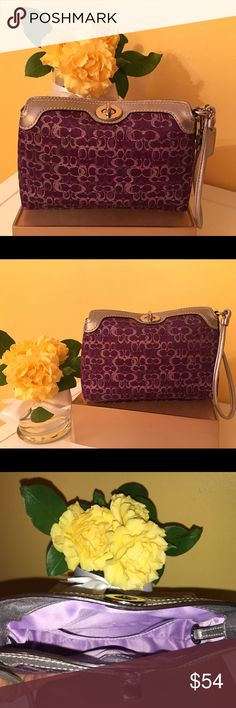 Authentic Coach Turnlock Wristlet This large authentic Coach Wristlet in rich purple has metallic silver and light purple C's. It has a light purple lining with a small pocket inside. With it's silver leather trim and silver turnlock hardware it will completely any outfit for a fun night out! Excellent, like new, condition!! Coach Bags Clutches & Wristlets