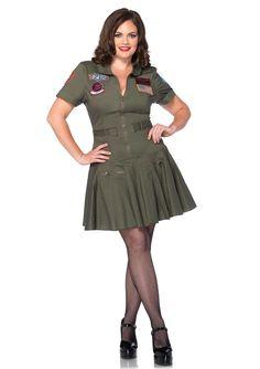 New Leg Avenue TG85046X PLUS SIZE TOP GUN FLIGHT DRESS Female Adult Costume  #LegAvenue