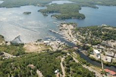 Aerial view of Parry Sound Harbour, in beautiful cottage country, northern Ontario, Canada