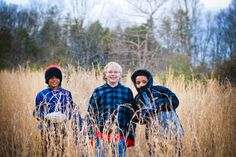 The three amigos (my son and two Godsons) playing in the broom straw on my Great Aunt & Uncles property.