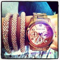 MaeMovement.com rose gold bracelets (towards a GREAT cause) and my Michael Kors rose gold runway watch!! <3 <3