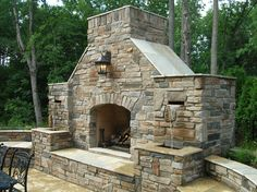 combination outdoor fireplace and water fountain | Outdoor Living Pictures Custom Outdoor Fireplace with Waterfalls ...