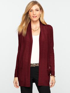 Talbots - Merino No-Close Cardigan Touch of texture: our soft-touch Merino Wool No-Close Cardigan gets a Talbots twist with pointelle rib-stitched shoulders and back yoke. No close Color: Spice Wine Heather  Size L Pointelle rib-stitched shoulders and back yoke Patch pockets Long sleeves Below hip length 100% merino wool Hand wash Imported # C646488 Retail $99.00            74