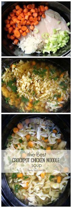 The best CROCKPOT chicken noodle soup! - FamilyFreshMeals.com