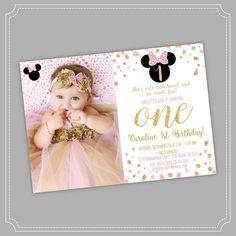 Invitación de rosa y oro Minnie Mouse para imprimir Este listado está para un archivo digital para la impresión de DIY. Ningún producto físico será enviado. Este listado está para una invitación imprimible digital 5 x 7 o 4 x 6 para imprimir en casa o en su impresora local.