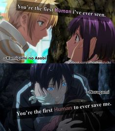 [ (top picture) Kamigami no Asobi, Noragami bottom picture)]