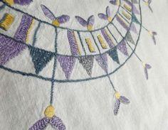 Purple Embroidery, Tablecloth, Purple Table Cloth, Easter Home Decor, White Vintage Linen, Crocheted Scalloped Edge, Scandinavian Swedish