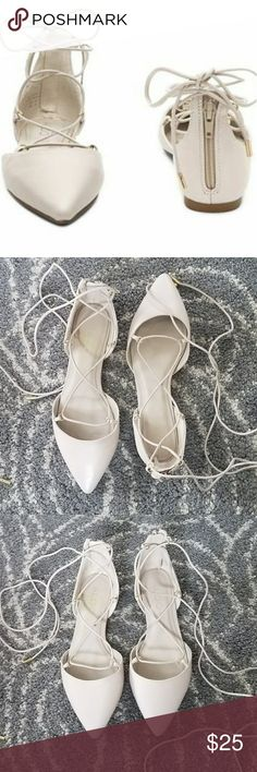Lace up flats Off white Aldo lace up flats, only worn once Aldo Shoes Flats & Loafers