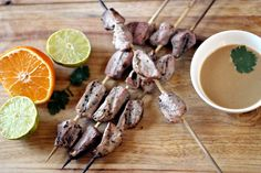 How to keep skewered pork from drying out - fork-tender every time! Indonesian Pork Satay with Peanut Dipping Sauce, from www.TheWanderlustKitchen.com