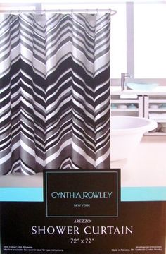 Shower Curtain Floral Fabric Designer Cynthia Rowley 72 X 72 Arezzo Black White Grey Chevron by Cynthia Rowley, http://www.distinctreasures.com/