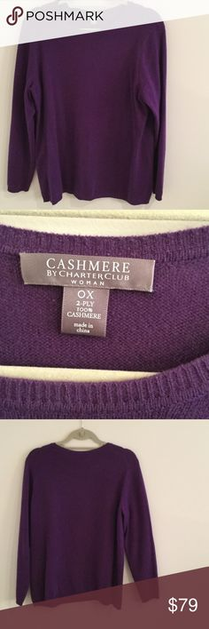 Purple cashmere charter club Long sleeve sweater Infuse luxury to your casual style with charter clubs crewneck purple cashmere sweater has a few tiny pills by armpits Charter Club Sweaters Crew & Scoop Necks