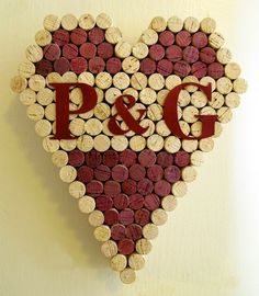 Wine Cork Heart with Personalized Lettering - Different Styles