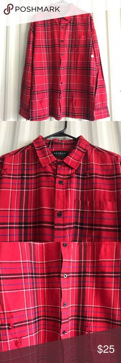 Pacsun Distressed Flannel Red and black distressed button down shirt PacSun Shirts Casual Button Down Shirts