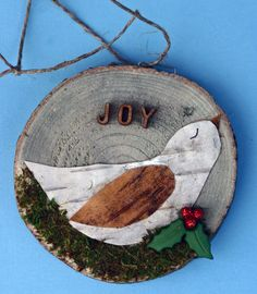 Joy, birch tree bark, bird on wood tree slice, birch, Christmas ornament, natural, small, round art, bird in nest, holly, moss, green, white by DeborahMcGeeArt on Etsy