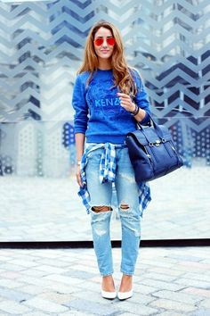 Distressed boyfriend jean, check; plaid, check; statement tee #kenzo, check; statement accessories, check