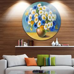 Designart 'Bouquet of Spring Flowers' Floral Glossy Disk Metal Wall Art