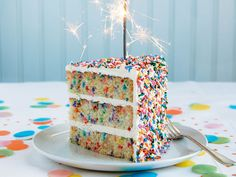 """In this birthday cake #recipe from Baked Occasions, three layers of densely spongy """"very vanilla"""" cake are enveloped in layers of bright white frosting and coated with rainbow sprinkles."""