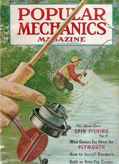 Vintage Popular Mechanics magazine cover of man fly fishing www.lodgemonster.com