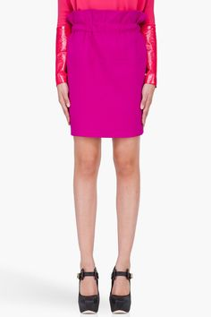 THAKOON Fuchsia Wool Paper Bag Skirt