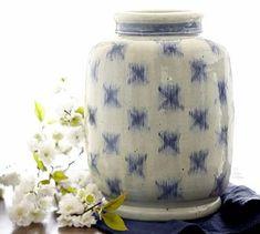 Blue Ikat Terra Cotta Vase #potterybarn