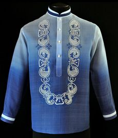 Take to the next level of style by adding this new design of complete with monochromatic color. Color: Monochromatic Navy Blue Chinese with pintuck collar, cuff buttons Traditional four-open button front embroidery Formal fit Barong Tagalog Wedding, Filipiniana Dress, Philippines Fashion, Line Shopping, Groom Outfit, Burgundy Color, Aesthetic Clothes, Traditional Outfits, Navy Blue