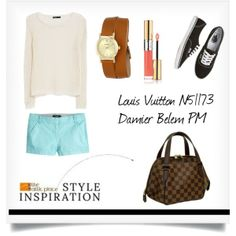 """"""":: STYLE INSPIRATION - Louis Vuitton N51173 Damier Belem PM ::"""" by the-attic-place on Polyvore"""