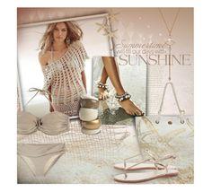"""Beige seaside"" by kseniz13 ❤ liked on Polyvore featuring Kim Rogers, House of Fraser, Summer, beige, crochet, beachwear and flatsandals"