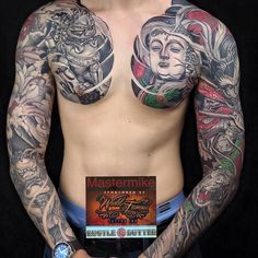 Fudog x Buddha x Monkey King By Buddha Tattoos, Tattoos Skull, Arm Sleeve Tattoos, Irezumi Tattoos, Japanese Sleeve Tattoos, Body Art Tattoos, Badass Tattoos, Tattoos For Guys, Irezumi Sleeve