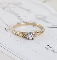 1940s Floral Two-Tone Diamond Solitaire. I like the design but I don't like the…                                                                                                                                                                                 More