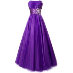 Fiesta Formals Strapless Princess Ball Gown Prom Dress with Gems (19 CAD) ❤ liked on Polyvore featuring dresses, gowns, formal evening gowns, prom gowns, strapless prom dresses, purple evening dresses and purple dress
