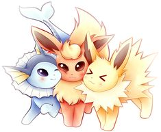 LARGE Eeveelution Trio Sticker Pikachu, Pokemon Eeveelutions, Eevee Evolutions, Cute Animal Drawings Kawaii, Cute Drawings, Kawaii Drawings, Poke Pokemon, Pokemon Craft, Cute Pokemon Wallpaper