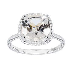 This sterling silver ring, from the Birks Collection, features a white quartz of 10 x 10mm. Size 6