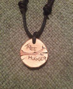 Tree Hugger Woodburned Pendant by FireWoodCrafts on Etsy, €9.00