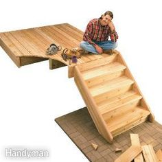 DIY - step by step - how to build deck stairs - In this story, we'll make it easy by showing you how to estimate step dimensions, layout and cut stair stringers, and assemble the stair parts. Stair Stringer Calculator, Outdoor Projects, Home Projects, Eco Deco, Stairs Stringer, Deck Steps, Wood Steps, Building Stairs, Building Code
