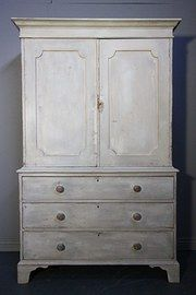 Regency Antique Painted Pine Cupboard/Linen Press - Antiques Atlas