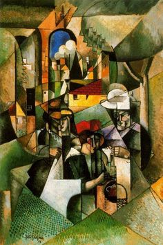 "These four postings - the last I will do on the topic of book covers - show the progress of a painting. From Albert Gleizes' cubist painting titled ""Women Sewing. Cubist Artists, Cubist Paintings, Cubism Art, Contemporary Paintings, Francis Picabia, Georges Braque, Social Art, Surrealism Painting, Art Sculpture"