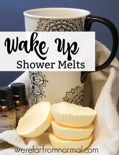 Wake Up Shower Melts - An uplifting combination of essential oils will help you get up and moving in the morning. These are easy to make and wonderful to use! Shower Bombs, Bath Bombs, Diy Savon, Do It Yourself Inspiration, Oatmeal Soap, Bath Melts, Diy Shower, Bath Shower, Soap Recipes
