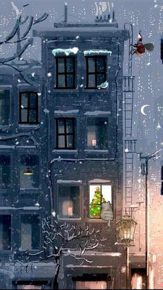 Art And Illustration, Christmas Illustration, Illustrations, Christmas Art, Winter Christmas, Xmas, Flowers Wallpaper, Poster Photo, Pascal Campion