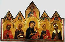 Vigoroso da Siena's altarpiece from 1291, an example of an early painted panel altarpiece, with the individual parts framed by gables and sculptured elements