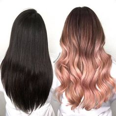 50 Amazing Rose Gold Hair Ideas That You Need to Try 50 Irresistible Rose Gold Hair Color Looks That Prove You Can Pull Off This Trend- Brunette to Rose Gold Blonde Hair Transformation Red Balayage Hair, Rose Gold Hair Brunette, Rose Gold Ombre, Rose Gold Balayage Brunettes, Dark Ombre, Gray Hair, White Hair, Brown Hair, Looks Style