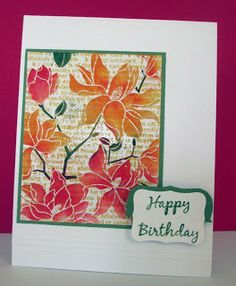 "By Pat. Image panel: Stamp text in Distress mustard seed. Stamp Hero Arts ""Large Blossom"" (negative stamp) in VersaMark & heat emboss with clear powder. Color flowers & stems with Distress inks & foam applicators. Add sentiment, green mat, & white card base."