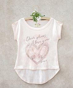 Another great find on #zulily! Cream Imelda 'Dear Shoes, I Love You' Tee - Toddler & Girls #zulilyfinds