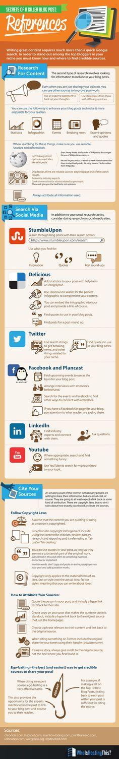 Secrets of a Killer Blog Post: References   #infographic #BlogPost #Blogging