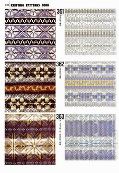 "Photo from album ""Книга 1000 узоров"" on Yandex. Fair Isle Knitting Patterns, Knitting Charts, Knitting Stitches, Knitting Designs, Knit Patterns, Knitting Projects, Stitch Patterns, Motif Fair Isle, Fair Isle Chart"