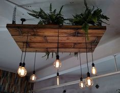 Love the pairing of greenery with wooden Edison hanging chandelier Ceiling Design, Lamp Design, Hanging Chandelier, Ceiling Hanging, Tap Room, Wood Lamps, Industrial Interiors, Vintage Industrial, Rustic Lighting