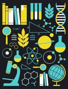 Illustration of A set of science and education symbols in yellow and blue vector art, clipart and stock vectors. Image 14518711. Science Symbols, Science Icons, Science Fair, Education Icon, Science Education, Health Education, Physical Education, Illustration Inspiration, Science Images