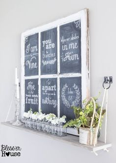 Chalkboard Hand Lettering the Easy Way & Cottage Styled Spring Shelf Vignette !