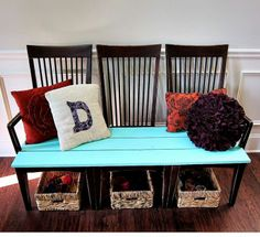 bench made out of old kitchen chairs   :: Hometalk